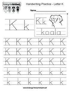 Free Letter K Writing Practice Worksheet Worksheets Alphabet Writing Worksheets, English Worksheets For Kindergarten, Handwriting Practice Worksheets, Handwriting Analysis, Preschool Worksheets, Improve Handwriting, Tracing Worksheets, Preschool Checklist, Handwriting Ideas