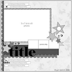 4-photo sketch (1 large, 3 small) Could use this for some of the 5x7 photos I have to scrap. #scrapbooking #sketch #layout