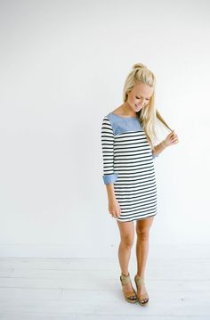 GroopDealz   Chambray Detailed Dress - 2 Colors!