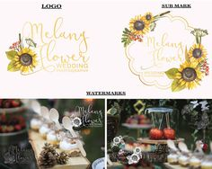 Sunflower logo design Premade logo Photography by LoveArtsStudio Photography Logos, Wedding Photography, Branding Kit, Business Logo, Logo Design, Place Card Holders, Awesome, Handmade Gifts, Etsy