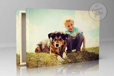 Baby and pet photo baby canvas print photo art print pet