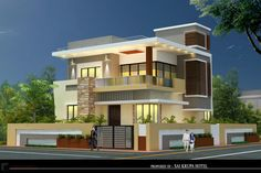Bungalow House Design, House Front Design, Modern House Design, Duplex House, Best Small House Designs, New Home Designs, Dream House Plans, Modern House Plans, House Elevation