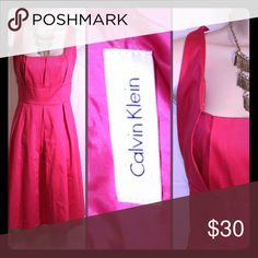CALVIN KLEIN Hot Pink tailor for dress Hot pink sleeveless dress great for weekends, dates, work or church Calvin Klein Dresses Midi