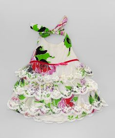 White & Green Floral Lace Tiered Dress - Toddler & Girls by Mia Belle Baby #zulily #zulilyfinds