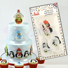 FMM Mummy and Baby Penguin Cutter Set (also for Robins/Snowmen) Penguin Cakes, Baby Penguins, Robins, Snowmen, Snow Globes, Cake Decorating, Winter, Christmas, Winter Time