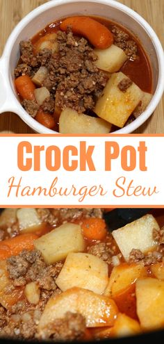 This easy frugal Crock Pot Hamburger Stew Recipe is perfect to make for busy weeknights! Plus its the perfect frugal meal to make with vegetables as well! # Food and Drink meals Easy Crock Pot Hamburger Stew Recipe Quick Hamburger, Hamburger In Crockpot, Easy Hamburger Meat Recipes, Supper Ideas With Hamburger, Hamburger Ideas, Crockpot Dishes, Crock Pot Cooking, Healthy Crockpot Dinners, Easy Crock Pot Meals