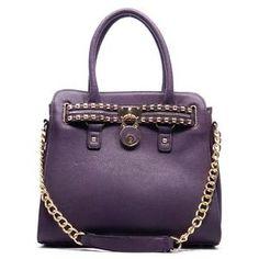 New Rockstuded Padlock Purplr Tote large handbag