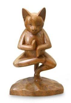 """Sculpture en bois, """"vrkasana Yoga Kitty-Chat fabriqué à la main indonésien en bois Sculpture"""