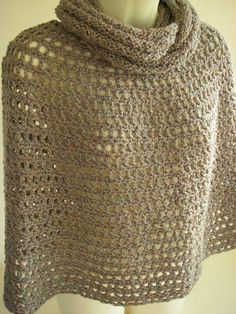Brown crocheted poncho with matching neck warmer by KororaCrafters