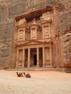 Photo taken of the Al Khazneh or The Treasury in Petra, Jordan.