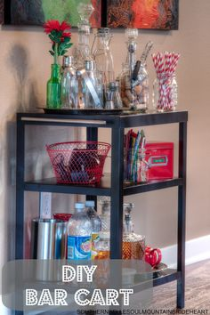 How perfect for an industrial vintage house?!?! With the perfect mix of vintage accessories and a heavy duty industrial cart, you can make yourself a beautiful, DIY, sophisticated chic piece of furniture! DIY Bar Cart/Cocktail Cart
