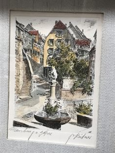 PAIR OF ANTIQUE PENCIL SIGNED COLOR ETCHINGS DEPICTING TWO GERMAN MONUMENTS. STYLED BY FLECK BROS., THEY COME WITH EASELS FOR DISPLAYING