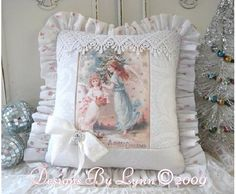 Pink Victorian  Christmas Sparkling Angels Pillow Designs By Lynn-pink, roses, shabby, chic, ruffles, Victorian, Vintage, Lynn,