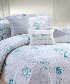 Love this White & Aqua Eleanore Comforter Set on #zulily! #zulilyfinds