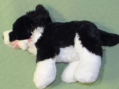 """BABW Border Collie DOG Black White Puppy with RED Collar Build A Bear 18"""" Long #BuildABear #Any"""