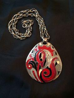 Signed Eisenberg Enamel Pendant Necklace, 1970's Artist's Series by MyBloomingNest on Etsy https://www.etsy.com/listing/261664869/signed-eisenberg-enamel-pendant-necklace