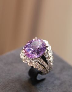 Louis Vuitton one of a kind lavender spinel ring with diamonds.