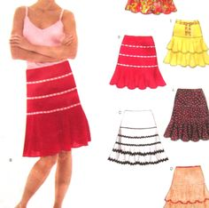 Uncut Pattern  Misses Skirts with Ruffles Size 6-16 New Look Simplicity 6460