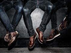 worn in denim #boots #denim #redwing