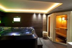 Indoor hot tub and spa area