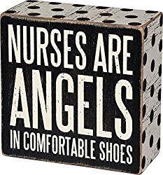 Primitives by Kathy Polka Dot-Trimmed Box Sign, 4 x Nurses are Angels Remove Shoes Sign, Best Nursing Shoes, Primitive Candles, Traditional Style Homes, Man Cave Gifts, Vintage Metal Signs, Decorative Signs, Box Signs, Wooden Boxes