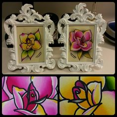 Framed rose paints #atl #watercolor #roses #red sold for commis paints email joshlindleytattoo@gmail.com