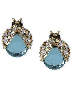 Betsey Johnson Earrings, Gold-Tone Blue Glass Crystal Bug Stud Earrings - Fashion Jewelry - Jewelry & Watches - Macy's