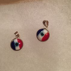 Sterling silver pendent. Cute American flag evil eye pendant Jewelry
