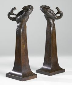 "Edgar Brandt -  PAIR OF ""COBRA"" CHENET - circa 1925"