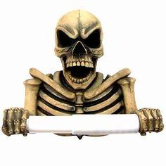 Skeleton Skull Toilet Paper Tissue Holder Halloween Decor.