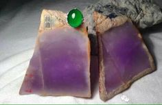 Rough purple and polished Jade. Gems And Minerals, Bangle Bracelets, Rolex, Jade, Buddha, Amethyst, Lavender, Jewelry Design, Carving