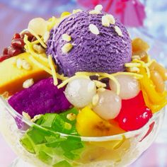 "Halo-halo! Filipino dessert. In English it means ""Mix-Mix""  Made up of:  •jack fruit •ice cream •sweet beans •coconut gel •coconut string •sweet ube •flan •palm fruit •bananas foster"