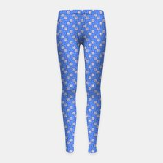 Blue and White Flowers Girl's leggings, Live Heroes Girls Leggings, Printed Leggings, White Flowers, Yoga Pants, Best Sellers, Pajama Pants, Blue And White, Live, How To Wear