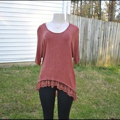 ✨VALENTINES 25% OFF SALE  ✨NEW✨ ✨NEW✨VALENTINES 25% OFF SALE BRAND NEW✨burnt orange bottom lace shirt follow Instagram: @lp__luna & DM for a discount! Thank you for your interest & let me know what size you'd like & I will create a separate listing for you!  Sizes: S, M, L LP Luna Tops Tees - Short Sleeve