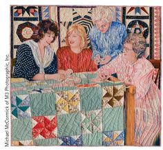"""International Quilt Festival """"The Four Founders"""" quilt by Gail Thomas, featuring from left: IQF founders Karey Bresenhan, Nancy O'Bryant, Jewel Patterson, and Helen O'Bryant.  Quilting Daily » Quilt Artists Learning from Each Other: International Quilt Festival at 40"""