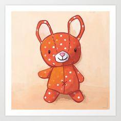 Le lapin qui aimait les champignons Art Print by Delphine Doreau - $19.95