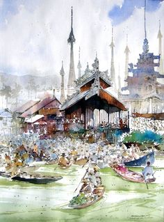 Chan Chang How The floating market in Inlay Lake
