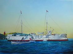 SATS GENERAL BOTHA (ex-HMS THAMES) was a training ship for the South African Navy between 1922 and This painting of the ship was commissioned by the Board of Trustees of the General Botha Old Boys Association. Historical Art, Ship Art, Royal Navy, Military Art, Battleship, Warfare, Sailing Ships, Military Vehicles, Sats