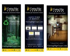 series of three trade show banners designed for Cutting Edge Carpet, April 2010. Learn more about them at http://www.cuttingedgecarpet.com/ Designed by Bonhomie Creative, bonhomiecreative.com #flooring #apartment #multifamily