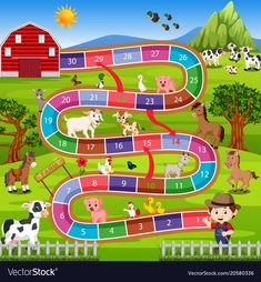 Board game with farm background Royalty Free Vector Image A falta delaware parques b calles Preschool Board Games, Preschool Learning Activities, Preschool Activities, Board Game Template, Printable Board Games, Free Vector Images, Vector Free, Vector Clipart, Disney Games