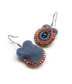 Cobalt Blue Earrings Copper and Blue Earrings Blue Earrings Soutache Earrings Blue Drop Earrings Surgical Steel Earrings