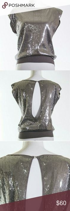 Alice + Olivia Metallic Silver Blouse Gorgeous metallic silver from Alice and Olivia. This top is just beautiful and versatile. Sequin all over. Perfect for any occasion. Pre-loved and in very good condition. Size S. Alice & Olivia Tops