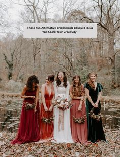 You've Got to See the Bridesmaids in Jewel Tones + Floral Hoops in this Luxe Autumn Wedding Inspiration - Hochzeit Bilder Trauzeugen - Hochzeitskleid Velvet Bridesmaid Dresses, Mismatched Bridesmaid Dresses, Alternative Bridesmaid Dresses, Bridesmaid Bouquets, Bohemian Bridesmaid, Velvet Dresses, Autumn Bridesmaid Dresses, Wedding Bouquets, Alternative Wedding Shoes
