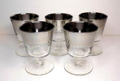 1960s Silver Fade Lowball Glasses on Stem Set by TimeEnoughAtLast