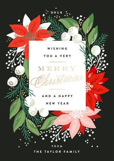 Christmas Poster design - Greeting Card Floral Foilpressed Holiday Cards in Charcoal by Alethea and Ruth Christmas Flyer, Christmas Graphics, Christmas Design, Christmas Greetings, Christmas Holidays, Christmas Brunch, Christmas Posters, Holly Christmas, Christmas Clipart