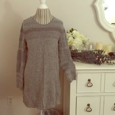"""H&M Grey color size M sweater dress H&M Grey color size M sweater dress. Tag is large but pretty sure its for medium. On the arms pretty shinny. On the side has little fluff plz check the picture. 31"""" long. Quilty: Medium H&M Dresses Midi"""