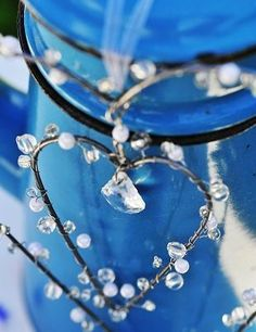 Wire heart with crystals.
