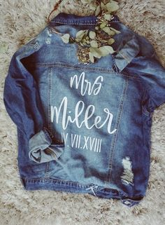 Customizable denim jacket Regular fit Medium wash Distressing is different on ever jacket. Sits just below the waist on most Please be specific with customizations at checkout! This is not painted- heat transfer vinyl is uses Final sale Outfits Jeans, Jean Jacket Outfits, Wedding Goals, Our Wedding, Dream Wedding, Wedding Ideas, Wedding Signs, Wedding Mallorca, Prince Charmant