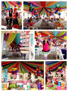 a40a3f2bd1034d67b88bd400d6c0aac7.jpg 721×960 pixels.      Fun covering for ceiling. White chairs...different colored tablecloths!!!!