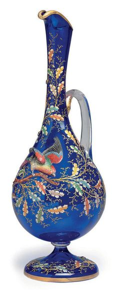 A MOSER ENAMELED SAPPHIRE-BLUE GLASS EWER. LATE 19TH CENTURY